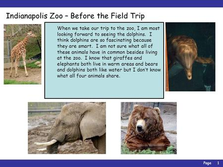 Page1 Indianapolis Zoo – Before the Field Trip When we take our trip to the zoo, I am most looking forward to seeing the dolphins. I think dolphins are.