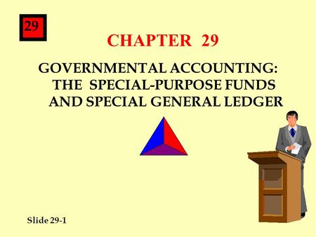 Slide 29-1 29 CHAPTER 29 GOVERNMENTAL ACCOUNTING: THE SPECIAL-PURPOSE FUNDS AND SPECIAL GENERAL LEDGER.