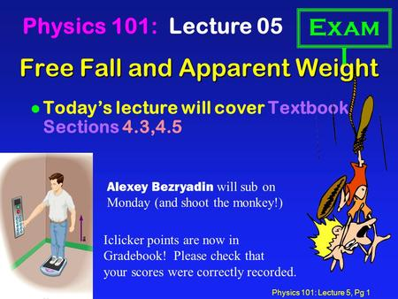 Physics 101: Lecture 5, Pg 1 Free Fall and Apparent Weight Physics 101: Lecture 05 l Today's lecture will cover Textbook Sections 4.3,4.5 Exam I Iclicker.