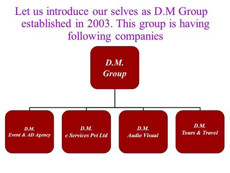 Let us introduce our selves as D.M Group established in 2003. This group is having following companies D.M. Group D.M. Event & AD Agency D.M. e Services.