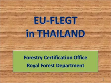 1. EU-FLEGT In 1998, after international meeting of G8, EU adopted the action plan to address the problem of illegal logging and related trade. In 2003,