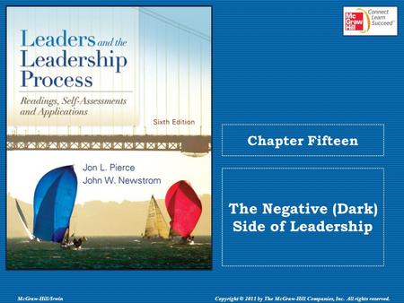 McGraw-Hill/IrwinCopyright © 2011 by The McGraw-Hill Companies, Inc. All rights reserved. Chapter Fifteen The Negative (Dark) Side of Leadership.
