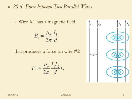 APHY201 12/5/2015 1 20.6 Force between Two Parallel Wires   Wire #1 has a magnetic field that produces a force on wire #2.