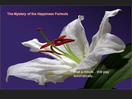 The Mystery of the Happiness Formula Wait a minute…Will play automatically…