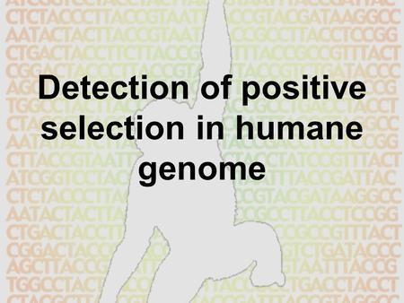 Detection of positive selection in humane genome.