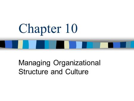Chapter 10 Managing Organizational Structure and Culture.