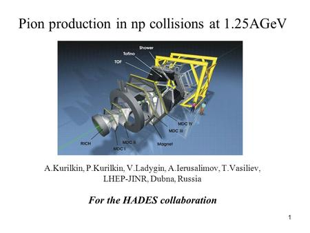 1 Pion production in np collisions at 1.25AGeV A.Kurilkin, P.Kurilkin, V.Ladygin, A.Ierusalimov, T.Vasiliev, LHEP-JINR, Dubna, Russia For the HADES collaboration.