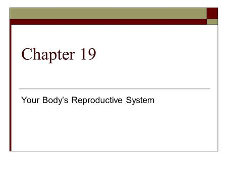 Chapter 19 Your Body's Reproductive System. Lesson 1 The Male Reproductive System Reproduction is the essential function of living organisms.