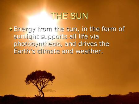 THE SUN Energy from the sun, in the form of sunlight supports all life via photosynthesis, and drives the Earth's climate and weather.
