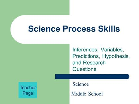Science Process Skills Inferences, Variables, Predictions, Hypothesis, and Research Questions Science Middle School Teacher Page.