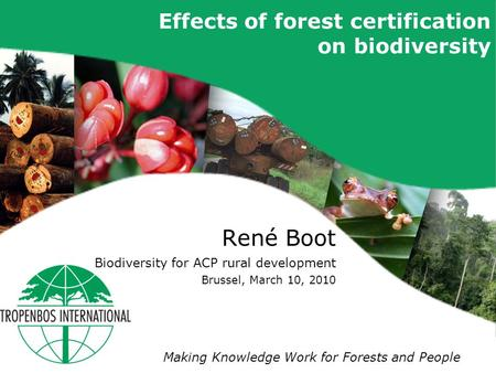 Making Knowledge Work for Forests and People Effects of forest certification on biodiversity René Boot Biodiversity for ACP rural development Brussel,