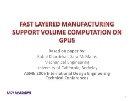 Based on paper by: Rahul Khardekar, Sara McMains Mechanical Engineering University of California, Berkeley ASME 2006 International Design Engineering Technical.