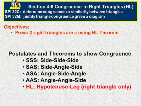 Postulates and Theorems to show Congruence SSS: Side-Side-Side