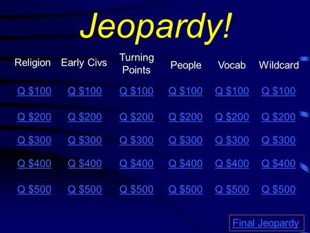Jeopardy! ReligionEarly Civs Turning Points PeopleVocab Q $100 Q $200 Q $300 Q $400 Q $500 Q $100 Q $200 Q $300 Q $400 Q $500 Final Jeopardy Wildcard Q.
