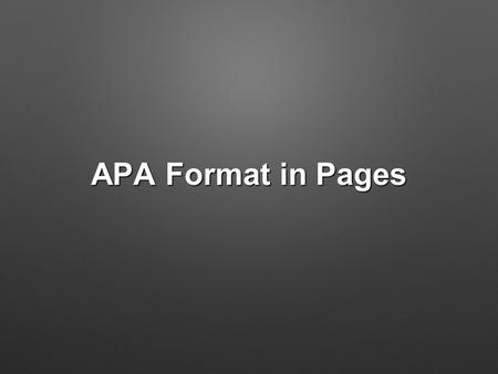 APA Format in Pages. Running Header and Page Numbers To create a running header click first on the wrench in the top right corner To create a running.