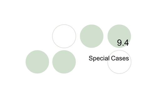 "9.4 Special Cases. 9.4 – Special Cases Goals / ""I can…""  I can find the square of a binomial  I can find the difference of squares."