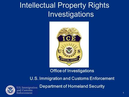 1 Intellectual Property Rights Investigations Office of Investigations U.S. Immigration and Customs Enforcement Department of Homeland Security.