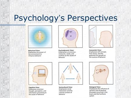 Psychology ' s Perspectives The Big SIX. Neuroscience Perspective Focus on how the physical body and brain creates our emotions, memories and sensory.