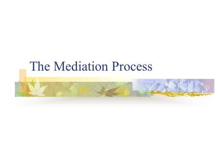 The Mediation Process. Major Components of a Mediation Session Preparation (by Mediators) Opening Statement Uninterrupted Time The ExchangeNote: Caucuses.