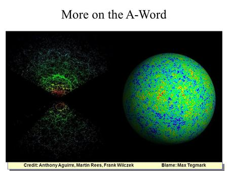 More on the A-Word Credit: Anthony Aguirre, Martin Rees, Frank Wilczek Blame: Max Tegmark.