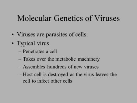 Molecular Genetics of Viruses Viruses are parasites of cells. Typical virus –Penetrates a cell –Takes over the metabolic machinery –Assembles hundreds.