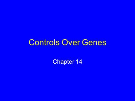 Controls Over Genes Chapter 14. Gene Control Which genes are being expressed in a cell depends upon: The type of cell Internal chemical conditions External.