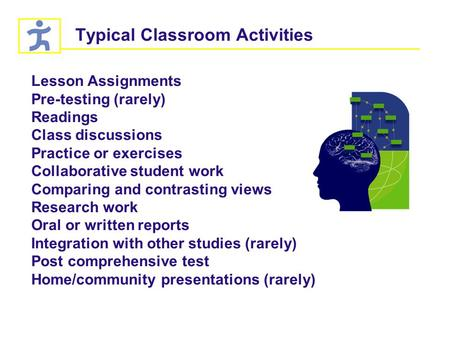 Typical Classroom Activities Lesson Assignments Pre-testing (rarely) Readings Class discussions Practice or exercises Collaborative student work Comparing.