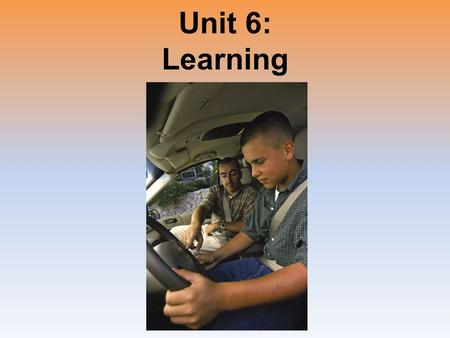Unit 6: Learning. Unit Overview How Do We Learn? Classical Conditioning Operant Conditioning Learning by Observation Click on the any of the above hyperlinks.