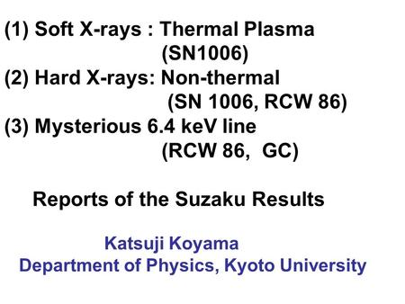 (1) Soft X-rays : Thermal Plasma (SN1006) (2) Hard X-rays: Non-thermal (SN 1006, RCW 86) (3) Mysterious 6.4 keV line (RCW 86, GC) Reports of the Suzaku.