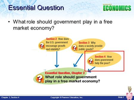 Slide 1 Copyright © Pearson Education, Inc.Chapter 3, Section 4 Essential Question What role should government play in a free market economy?