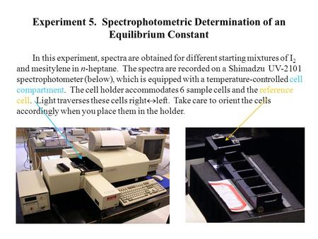 Experiment 5. Spectrophotometric Determination of an Equilibrium Constant In this experiment, spectra are obtained for different starting mixtures of.