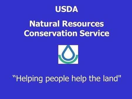 "USDA Natural Resources Conservation Service ""Helping people help the land"