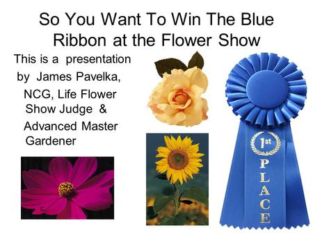 So You Want To Win The Blue Ribbon at the Flower Show This is a presentation by James Pavelka, NCG, Life Flower Show Judge & Advanced Master Gardener.