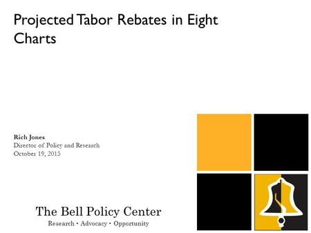 Projected Tabor Rebates in Eight Charts Rich Jones Director of Policy and Research October 19, 2015 The Bell Policy Center Research Advocacy Opportunity.