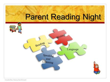 Parent Reading Night Reading Writing Speaking and Listening Language Created by: Stacey Darchicourt.