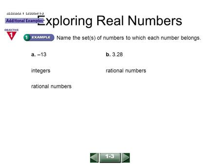 Name the set(s) of numbers to which each number belongs. a. –13b. 3.28 integers rational numbers ALGEBRA 1 LESSON 1-3 Exploring Real Numbers 1-3.