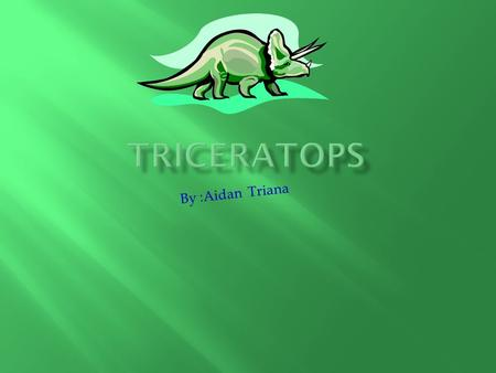 By :Aidan Triana. My dinosaur is the Triceratops (Try-serra-tops). Triceratops means three horned head.