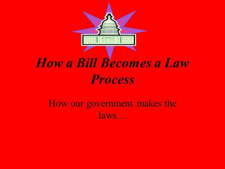 How a Bill Becomes a Law Process How our government makes the laws…
