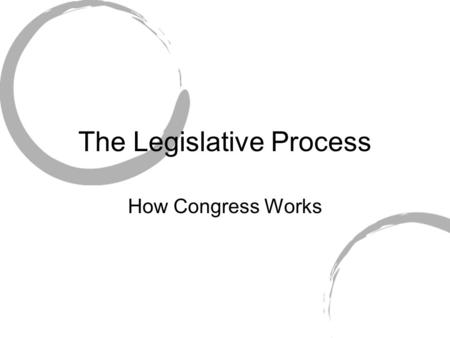 The Legislative Process How Congress Works. Helping Constituents As a lawmaker- sponsoring bills that benefit constituents. Committee work- supporting.