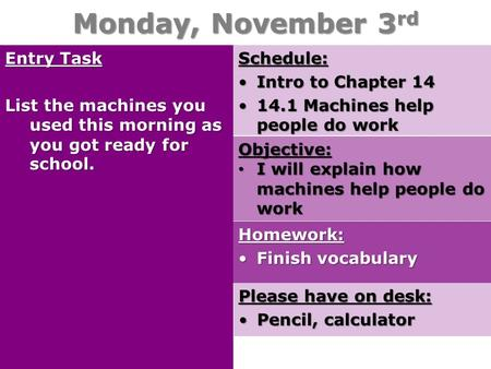 Monday, November 3 rd Entry Task List the machines you used this morning as you got ready for school. Schedule: Intro to Chapter 14Intro to Chapter 14.