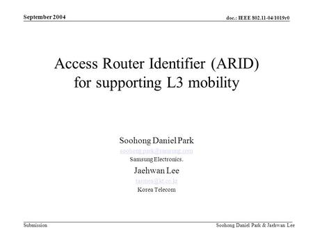 Doc.: IEEE 802.11-04/1019r0 Submission September 2004 Soohong Daniel Park & Jaehwan Lee Access Router Identifier (ARID) for supporting L3 mobility Soohong.