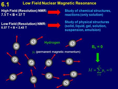 Low Field Nuclear Magnetic Resonance High Field (Resolution) NMR: 7.5 T < B < 37 T Study of chemical structures, reactions (only solution) Low Field (Resolution)