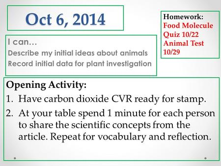 Oct 6, 2014 I can… Describe my initial ideas about animals Record initial data for plant investigation Homework: Food Molecule Quiz 10/22 Animal Test 10/29.