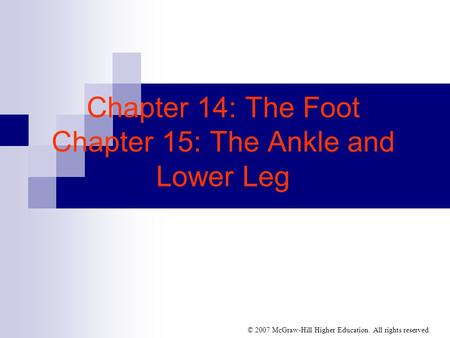 © 2007 McGraw-Hill Higher Education. All rights reserved. Chapter 14: The Foot Chapter 15: The Ankle and Lower Leg.