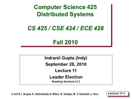 Lecture 11-1 Computer Science 425 Distributed Systems CS 425 / CSE 424 / ECE 428 Fall 2010 Indranil Gupta (Indy) September 28, 2010 Lecture 11 Leader Election.