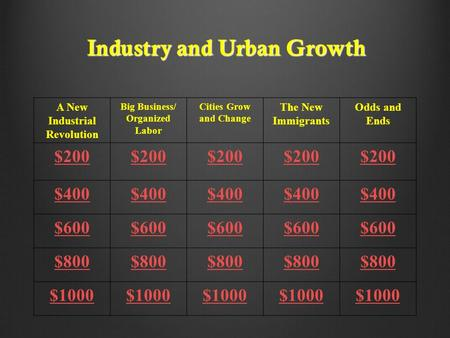 Industry and Urban Growth A New Industrial Revolution Big Business/ Organized Labor Cities Grow and Change The New Immigrants Odds and Ends $200 $400 $600.