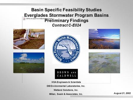 Basin Specific Feasibility Studies Everglades Stormwater Program Basins Preliminary Findings Contract C-E024 HSA Engineers & Scientists DB Environmental.