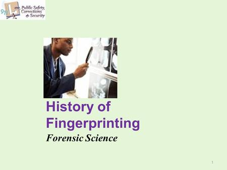 History of Fingerprinting Forensic Science 1. 2 Copyright and Terms of Service Copyright © Texas Education Agency, 2011. These materials are copyrighted.