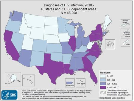 Slide 1: Diagnoses of HIV Infection, 2010 - 46 States and 5 U.S. Dependent Areas In 2010, in the 46 states and 5 U.S. dependent areas with confidential.
