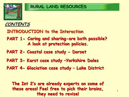 RURALLAND RESOURCES RURAL LAND RESOURCES 1 CONTENTS PART 4- Glaciation case study – Lake District The Int 2's are already experts on some of these areas!